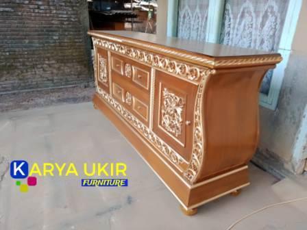 Jual Bufet ukir Jepara bahan material kayu jati atau sebuah bufet pajangan yang cocok untuk berbagai macam bentuk ruang minimalis maupun modern