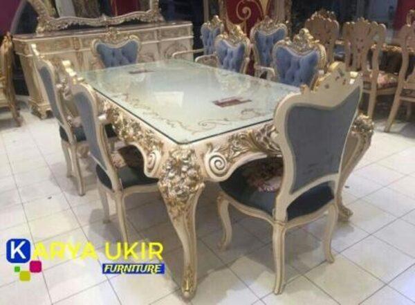 Jual murah meja makan mewah dengan bahan material kayu jati TPK atau yang biasa disebut dengan meja ruang makan desain Italy desain minimalis