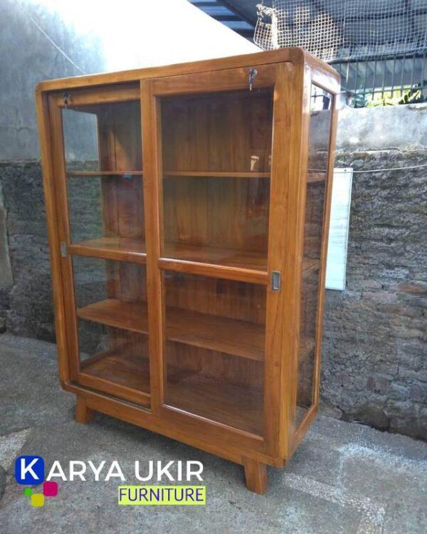 Jual Lemari buku minimalis Jati atau yang biasa disebut dengan lemari buku model retro klasik dengan kualitas terbaik dan harga paling murah