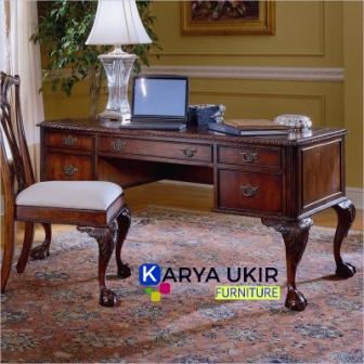 Jual Meja kerja ukir Jepara dengan bahan material kayu jati atau yang biasa disebut dengan meja kantor Jepara atau meja office berkualitas dan murah