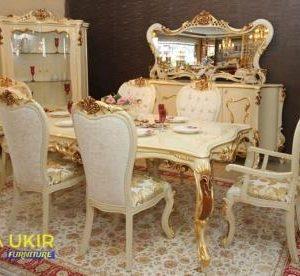 Meja makan Bandung dengan desain mewah ukir jepara atau yang biasa disebut dengan satu ruang makan model Kota Kembang harga murah